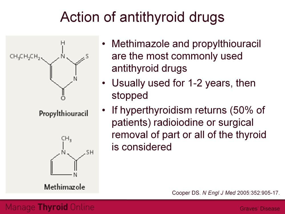 Antithyroid drugs are used to block excess thyroid hormone production. Typically, a patient will take one of these two drugs for between 1 and 2 years. After this, the medication is stopped.