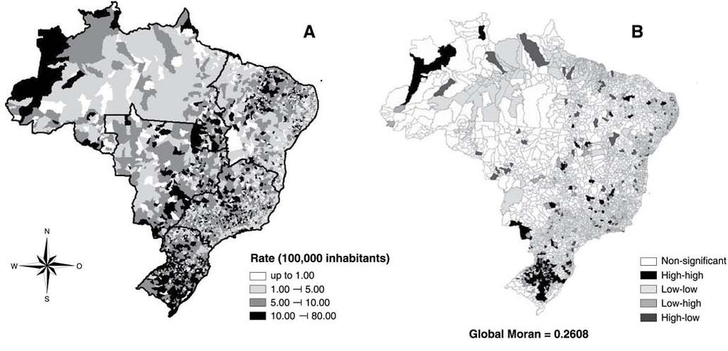Suicide mortality in Brazil 15 Table 3 Global Moran index and bivariate linear regression between socioeconomic indicators and suicide SMR (per 100,000 population) in Brazil from 2010-2014 Bivariate