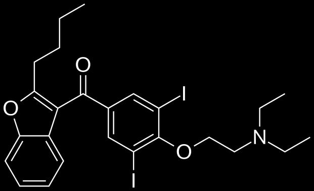 Amiodarone and thyroid dysfunction Amiodarone contains two iodine atoms.