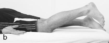 19 Eccentric hamstring training Flicks showing (a) start and (b) finish