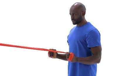 Standing Shoulder Row with Anchored Resistance Begin standing upright, holding both ends of a resistance band that is anchored in front of you at chest height, with your palms facing inward.
