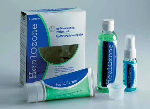 References Figure 28: HealOzone Remineralizing Patient kit which contains a toothpaste mouthrinse and spray, with fluoride, calcium, phosphate, zinc and xylitol.