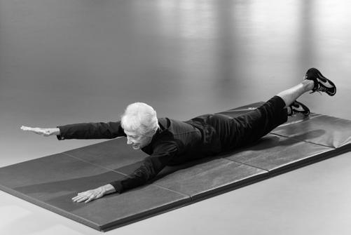 Back Extension While lying on your stomach, place your arms and legs out