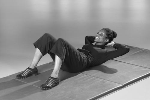 Crunch Place your hands behind your head. Tighten abdomen, and raise your shoulders and upper back off the floor.