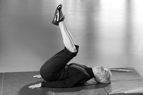Reverse Crunch With your knees bent about 90, tighten your abdominals and curl your hips up until the lower back is off the