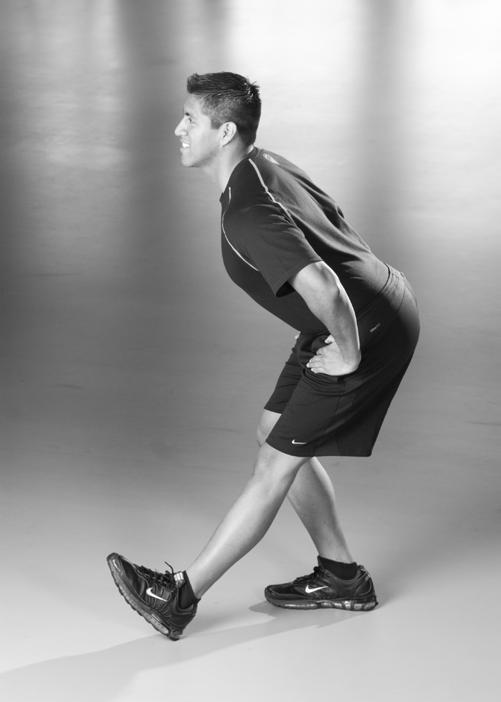 Walking/Running Stretch Routine Standing Hamstring Stretch Put one leg straight out with your heel down and toes up.