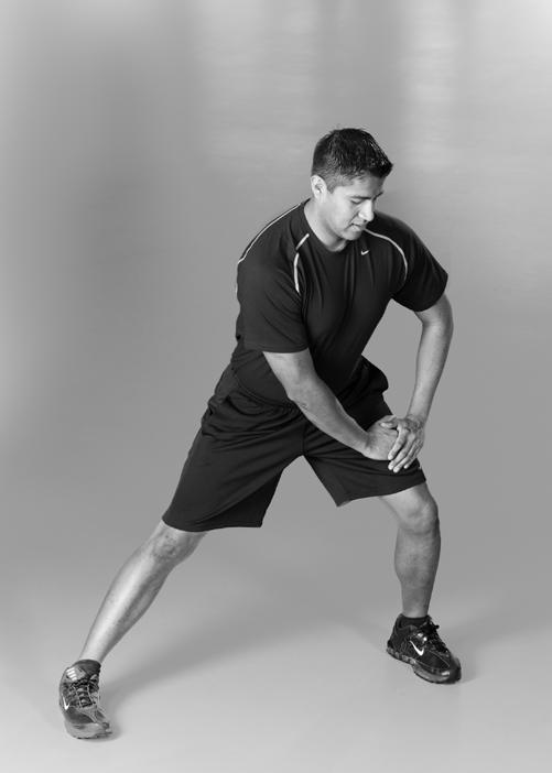 Walking/Running Stretch Routine Standing Inner Thigh Stretch With feet wide apart, slowly shift your weight to