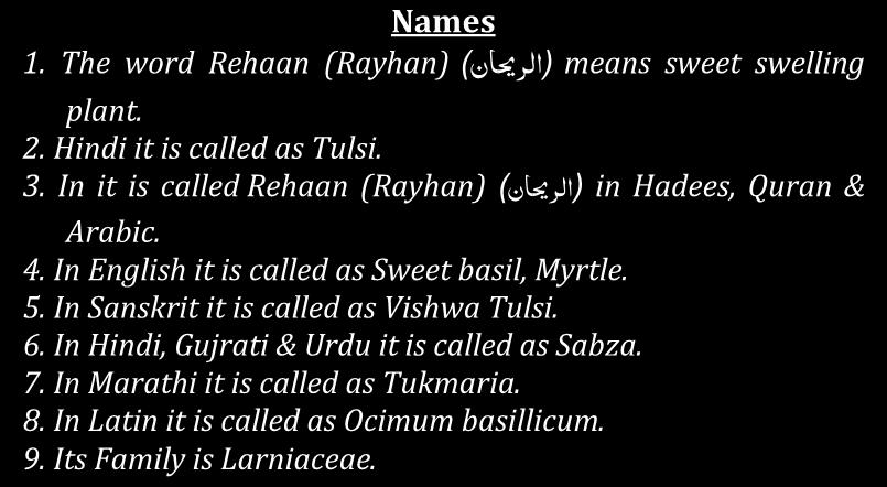 It is not one type of plant, Allah has gifted every region sweet smelling plants, according to their needs & they all come under the topic of Rehaan (Rayhan) ) )اىص یاف means every region