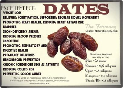7 Ajwah dates eaten early morning on empty stomach prevents black magic, evil eye, cardiac problems, skin disease & are from Jannah. 3.