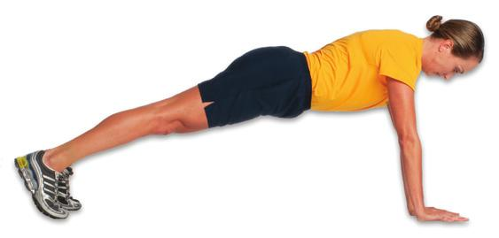 Keep shoulders & hips square to deck with arm reach Glute Bridge -