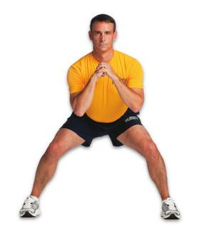 position with feet hip width & band just above knees Take small side steps, lead elbows