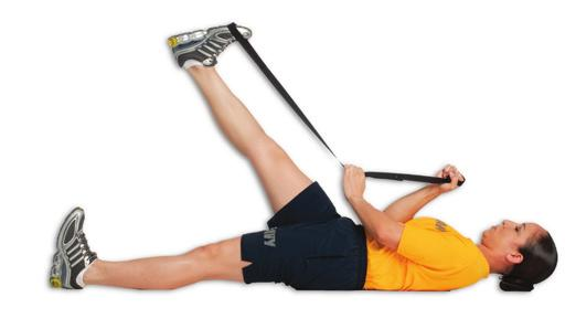 the stretch strap around foot & outside of leg Actively raise leg