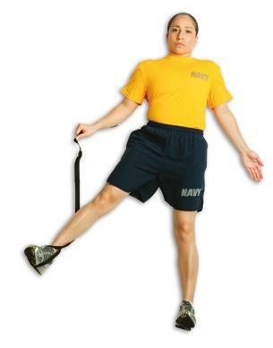 right leg straight, actively raise it, then give gentle assistance