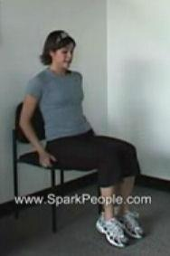 Seated Knee Lifts Sit at the front edge of your chair, hands grasping the sides of the chair.