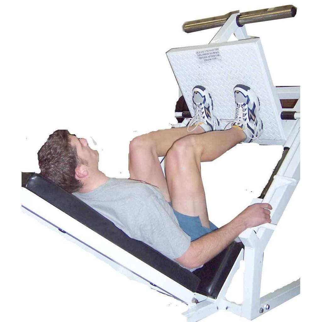 Leg Press - Double Leg Feet & knees hip width apart Control descent to 90 degree knee flexion Return to start position by extending knees