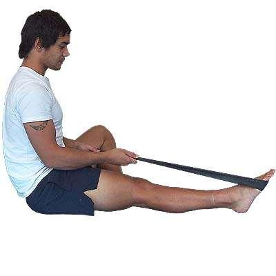 Rest 60s between Ankle Plantar Flexion - Knee Straight - Elastic Cord Sit with leg