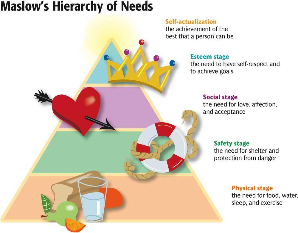 Maslow s Hierarchy of Needs A list of the basic needs one must achieve on the way to selfactualization.
