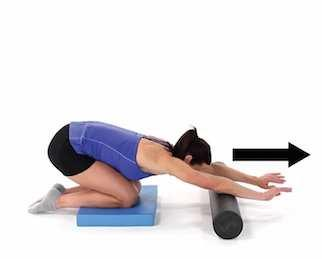 Latissimus Mobilization on Foam Roll Begin on your side with your bottom arm straight and a wrapped foam roller resting under the side of your ribcage.
