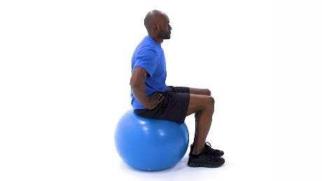 Swiss Ball March Begin sitting upright on a swiss ball. Keeping your trunk steady, raise one knee up towards your chest, then lower it back to the starting position and repeat.