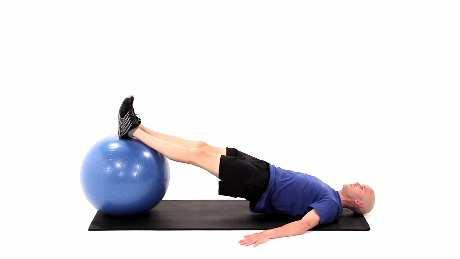 Make sure to keep your abdominals tight and do not let your hips rotate to either side during the exercise Supine Hamstring Curl on Swiss Ball Begin lying on your back with your legs