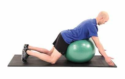 STEP 1 STEP 2 Prone Middle Trapezius Strengthening on Swiss Ball Begin on all fours with your