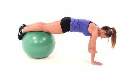Push Up with Shins on Swiss Ball Begin in a push-up position with your legs