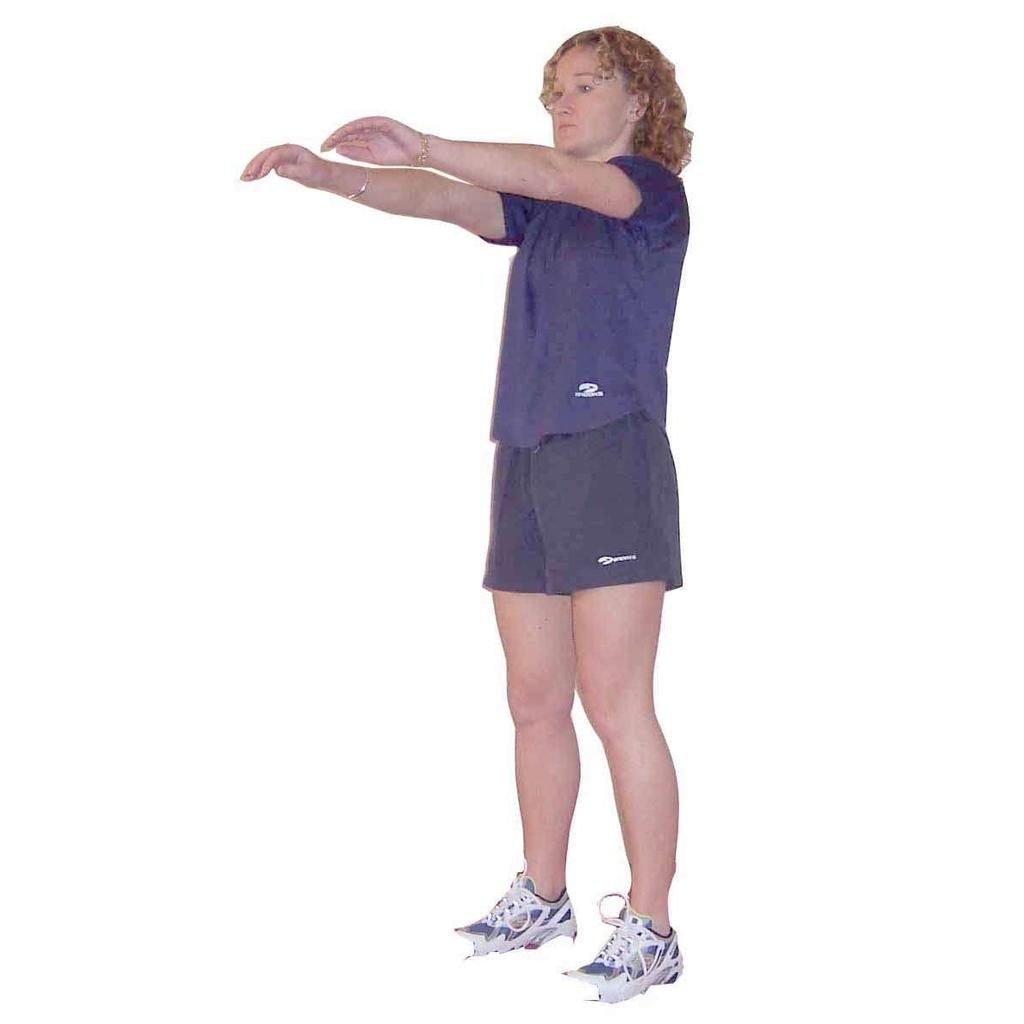 Arms in front of body Push knees forward over toes & sit backward until