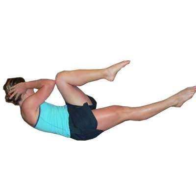 face up, hands behind low area of neck Bend knees to 90 degrees, feet off floor Curl up