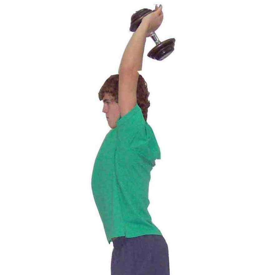 Triceps Extension - Overhead - Weighted Object Stand with single item of choice and weight held in both hands overhead Fix upper