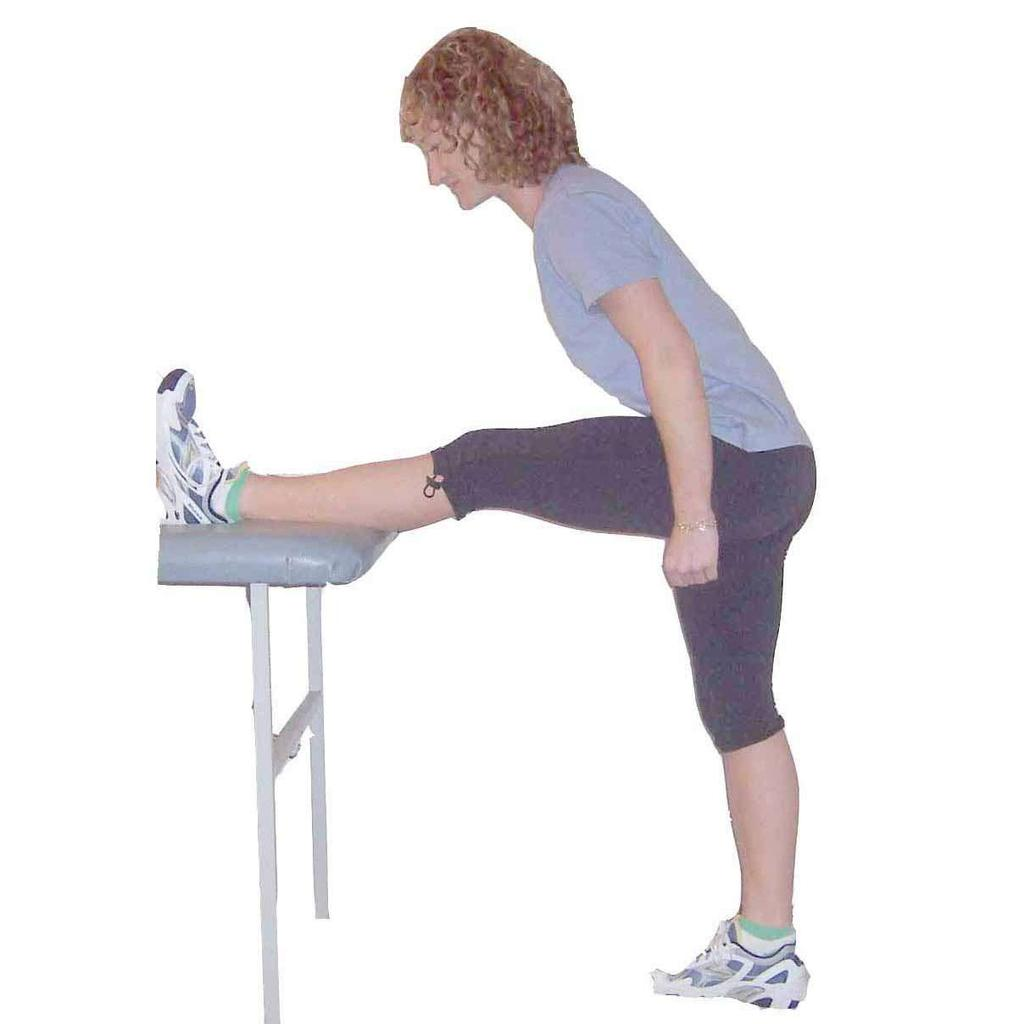 Hamstring Stretch - Standing Stand Raise one leg onto box or bench Hips pointed towards elevated foot Upright posture,