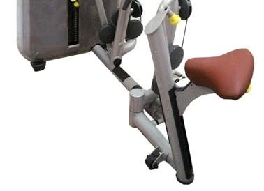 adjustments from the seated position For the chest pad & seat & swing away feature Colour contrasting adjustments to aid