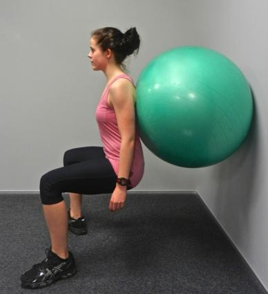 Start with your legs straight and back flat against the wall or swiss ball.