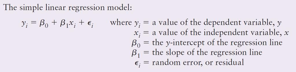 Simple Linear Regression the model The goal of a regression analysis is