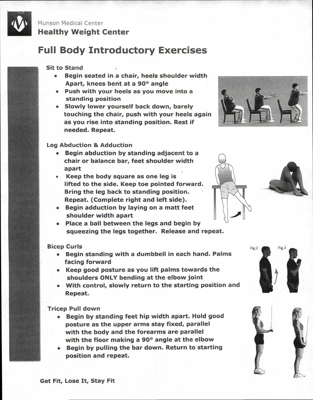 Full Body Introductory Exercises Sit to Stand Begin seated in a chair, heels shoulder width Apart, knees bent at a 90 angle Push with your heels as you move into a standing position Slowly lower