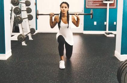 with your opposite foot this time, alternating each time WEIGHT: HEAVY BARBELL SQUATS REPS: 10 8 8 1 Stand with your feet shoulder-width apart, with the bar across the back of your shoulders below