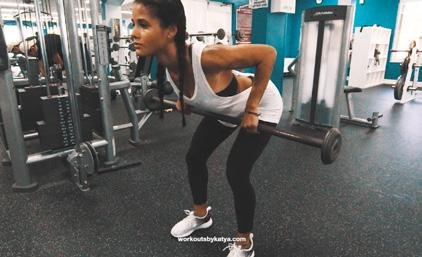 ARABESQUE ROW REPS: 10 8 8 (EACH SIDE) 1 With your left leg straight behind you, lower your upper body until there is a straight line from your left foot to your shoulders, with your left arm hanging