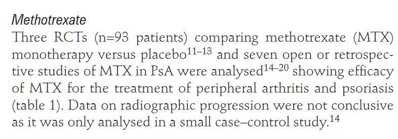 Black RL, O Brien WM, Vanscott EJ, et al. Methotrexate therapy in psoriatic arthritis; double-blind study on 21 patients. JAMA 1964 ; 189 : 743 7. Scarpa R, Peluso R, Atteno M, et al.