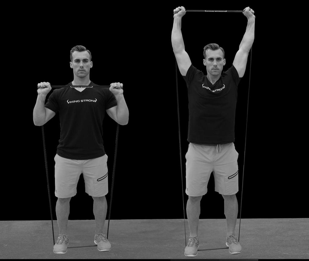 Shoulder Press. To begin, stand on an exercise band so that tension begins at arm's length.