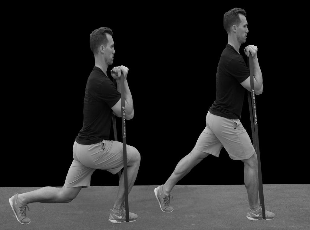Lunges. Position the band under your working leg as the model illustrates.