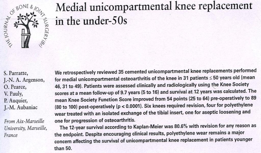 Fixed bearing UKA = reliable solution for unicompartmental arthritis in