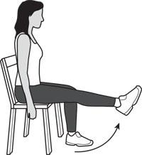 7. Leg Extensions Main muscles worked: Quadriceps You should feel this exercise at the front of your thigh Sit up straight on a chair or bench.