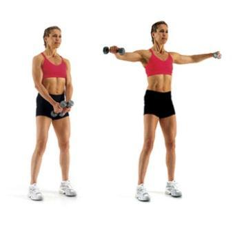 Basic Lunge with Lat raises- Lunge out with one leg and raise arms laterally while in the lunge DB Row- upper and middle back, biceps, rear deltoids Stand with feet shoulder width apart, dumbbell in