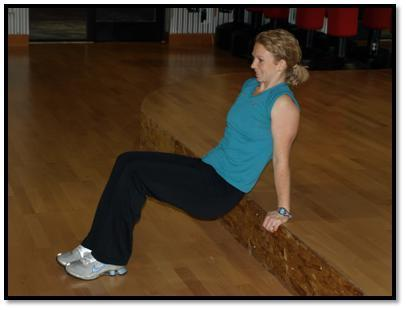 Sit on ball, feet flat on ground about hip width apart Place hands across chest, lean back on ball so your tailbone to your shoulders are on the ball, eyes toward the ceiling, chin up Exhale and