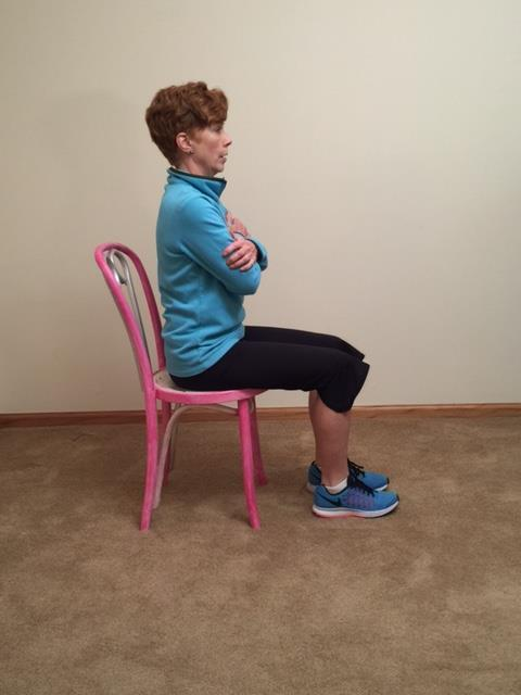 Chair Stand Without Hands: Strengthens abdomen and thighs.