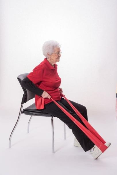 SEATED ROW - BAND Sit in a chair with a straight back. Do not slouch in the chair. Straighten one leg (keeping the heel on the ground), and place the middle of the band around that foot.