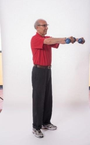 Straighten the arms, and then slowly bring your arms back to starting position.