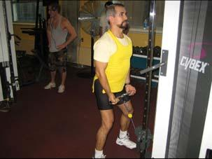 7. Cable Bicep Curl : Muscle: Biceps Resistance: Cable and weights Place feet one foot-length from the pulley mechanism, bend knees