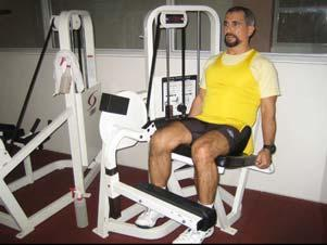 13. Leg Extension : Muscle: Thighs Resistance: on the pulley Body Connection: Hands gripping the handles Adjust footpad so it rests just above the ankle.