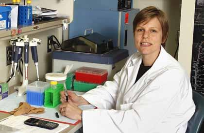 uu LEUKEMIA MOLECULAR MAYHEM Targeted agent shows promise for chronic lymphoid leukemia THE RESEARCHER AMY JOHNSON, PhD, assistant professor of Hematology and Medicinal Chemistry Researchers at the