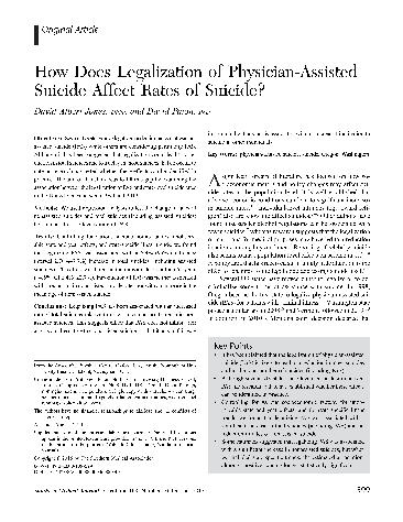 In October 2015, the Southern Medical Journal, a respected peer-reviewed publication, published a research article titled: How Does Legalization of Physician-Assisted Suicide Affect Rates of Suicide?